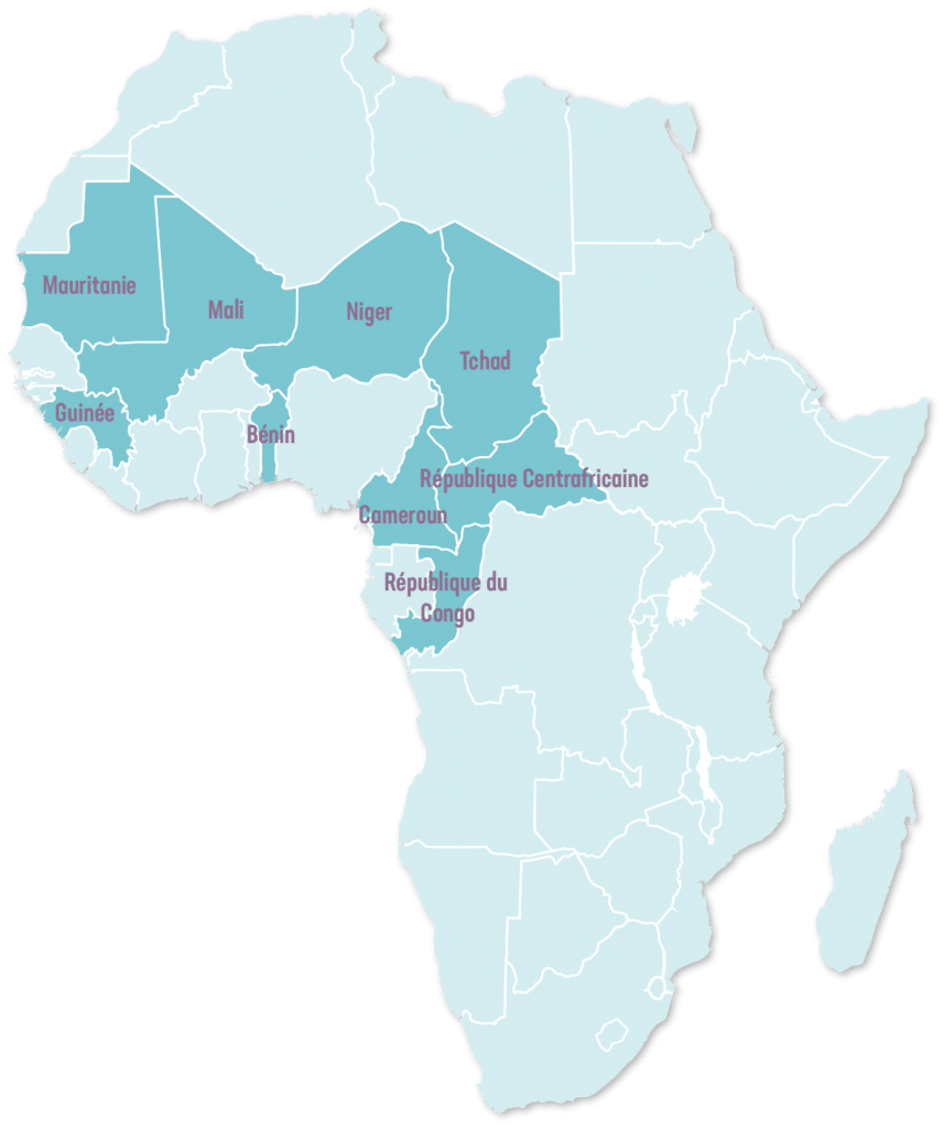 Carte des pays en Afrique francophone. La carte montre les pays d'intervention de l'OPC. L'Organisation pour la Prévention de la Cécité (OPC) intervient en Afrique Francophone
